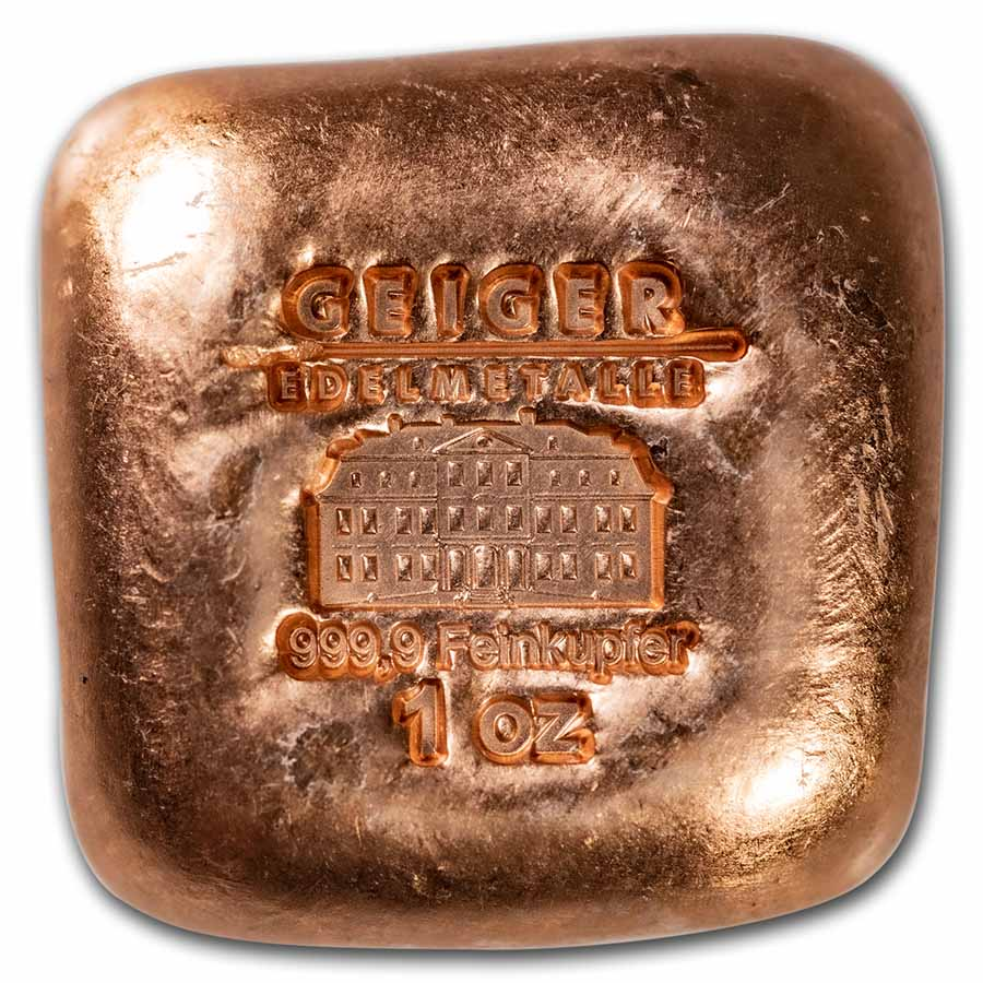 1 oz Copper Bar - Geiger (Poured Square, .9999 Fine)